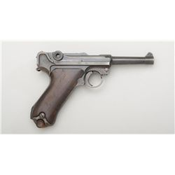 "German Luger semi-auto pistol by DWM, 7.65mm  cal., 4"" barrel, re-blued finish, smooth wood  grips,"