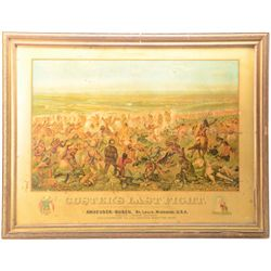 "Large older framed Anheuser-Busch ""Custer's  Last Fight"" color advertiser 36"" x 48"" and in  overall"