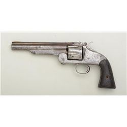 "Smith & Wesson First Model American top break  revolver, .44 cal., 6"" barrel, wood grips,  #1809. Th"
