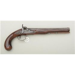 British single shot pistol converted from  flintlock to percussion, maker Wogdon and so  noted at th