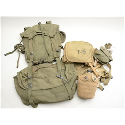 Lot of U.S. Military web gear including  pouches, packs, straps, etc.; WW II and Korea  era.  From t