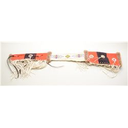 Contemporary Indian musket scabbard with  leather fringe, beaded hide section and  beaded trade blan