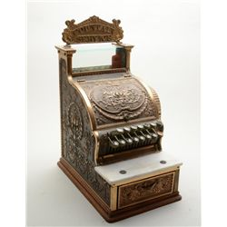 Ornate brass Fountain Service or candy sized  small cash register, circa early 1900's in  overall ve