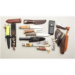 Lot of misc. knives, sheaths and a small  leather holster; knives include a sheathed  nautical dagge