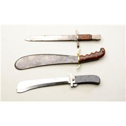 Lot of three military edged weapons including  a U.S. bolo knife (no sheath) marked  Springfield Arm