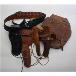 Misc. collectible leather lot including a US  marked leather satchel bag that was at one  time half