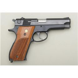 "Smith & Wesson Model 39-2 DA semi-auto  pistol, 9mm cal., 4"" barrel, blue finish,  checkered wood me"