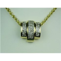 Very high quality 14 karat yellow gold ladies  custom made necklace invisible set with 72  princess
