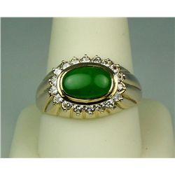 Exquisite 14 karat yellow gold ladies custom  made ring bezel set with a fine apple green  Jade weig