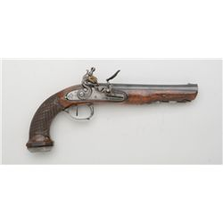 "French Napoleonic flintlock pistol, .60 cal.,  7-1/2"" octagon barrel, blue finish,  checkered wood f"