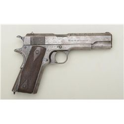 "Colt U.S. Property Model 1911 semi-auto  pistol, .45 cal., 5"" barrel, checkered wood  grips, no maga"