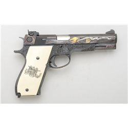 "Custom wood cased Smith & Wesson Model 52-2  semi-auto pistol, .38 Special Mid-Range, 5""  barrel, bl"