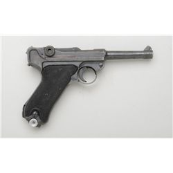 "German Luger P. 08 ""Black Widow"" semi-auto  pistol, 9mm cal., 4"" barrel, black finish,  checkered bl"