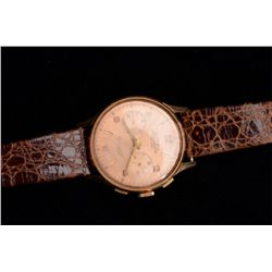 Rose Gold oversize antique chronometer with  stop wrist watch by Olympic of Switzerland;  18K marked