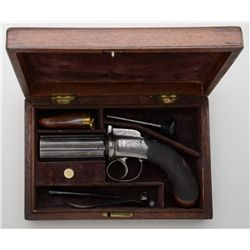"Presentation wood cased English percussion  pepperbox pistol by Joseph Kemp, six 3-1/2""  barrels, .3"