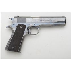 "Colt .38 Super semi-auto pistol, .38 Super  cal., 5"" barrel, blue finish, checkered wood  grips, two"