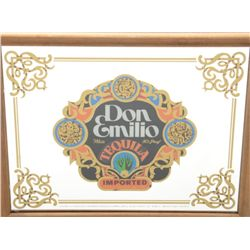 "Wood framed bar mirror advertising Don Emilio  Tequila, approx. 12"" x 16"" mirror size in  overall fi"