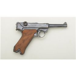 "German Luger semi-auto pistol by DWM, 7.65mm  cal., 4"" barrel, re-blued finish, checkered  wood grip"