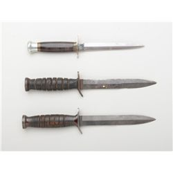 Great lot of three U.S. military fighting  knives including a USM3 by Camillus dated  1943, a USM3 b