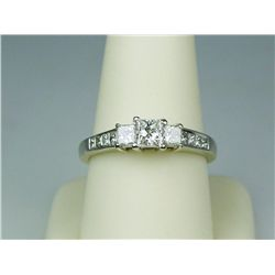Dazzling 14 karat white gold ladies diamond  ring set with center princess cut diamond  weighing app