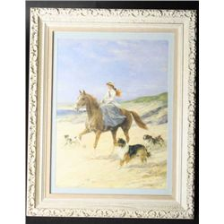 Watercolor and gouache of lady riding on  beach surrounded by dogs, signed Howard Hardy  lower right