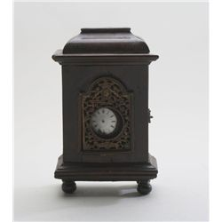 Eighteenth to early nineteenth century fuse'  movement pocket watch with wood mantle  cabinet to dis