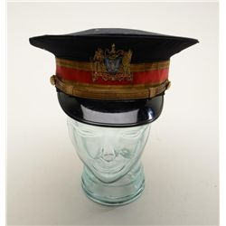 Interesting military uniform items including  a dress hard brim hat with detachable rain  cover, a s