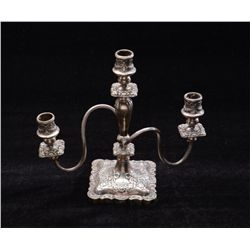 "Heavy ornate silver plated three stand  candelabra in overall very good condition  approx. 10"" high"