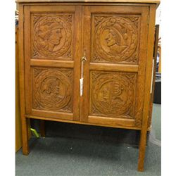 "Antique oak cabinet or sideboard, approx. 42""  in height, 35"" wide and 16"" deep in overall  very goo"