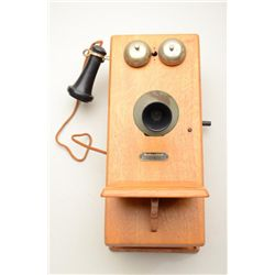 Classic oak old time wall phone by Montgomery  Ward & Co. in overall very good to fine  condition wi