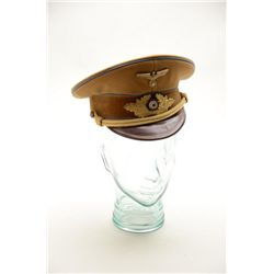 Nazi party leader visor cap in overall very  good condition with brown visor, blue piping  and gold