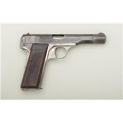 "Pre-nazi FN semi-auto pistol, 7.65mm cal.,  4-1/2"" barrel, blue finish, checkered wood  grips, #2605"