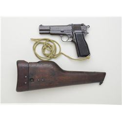 Canadian Inglis Browning FN MK I* semi-auto  pistol with combination wood shoulder  stock/holster, 9