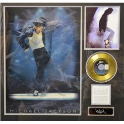 "Professionally-framed and matted original  vinyl record, gold plated of ""Bad"" by Michael  Jackson ap"