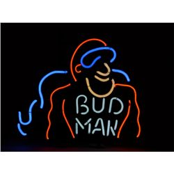 "Neon light ""Budman"" approx. 19"" x 23"" in red,  white and blue colored gas in fine condition  at time"