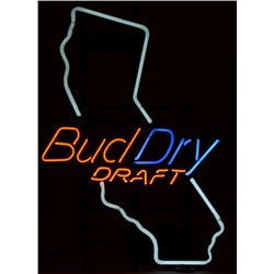 "California Bud Dry neon beer sign approx. 31""  x 22"" and outlined shape of California in  design; ve"