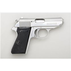 "Walther PPK/S by Interarms, #S092269, .380  ACP, 3-3/8"" barrel, stainless, with black  plastic check"