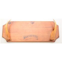 "Winchester wood and antler horn wall rack for  a rifle or carbine, approx. 9"" x 24"" overall  and in"