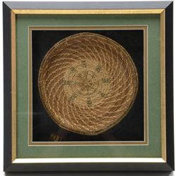 "Beautifully shadow box framed and matted  Northern Indian woven basket approx. 8"" in  diameter, mult"