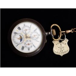 Unsigned Swiss movement in open face pocket  watch; four functions beside time; seconds,  day date a