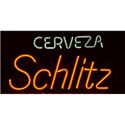 "Cerveza Schlitz neon beer sign approx. 13"" x  23"" in overall fine condition at time of  description;"