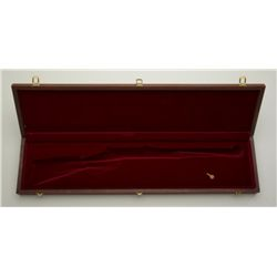 Wooden display case for a lever action  carbine with padded maroon velour lining  showing excellent