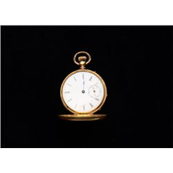 Jules Huguenine 15 jewel Hunting Case pocket  watch; case tests gold but is not marked and  very thi