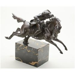 French bronze on marble stand showing a  racing horseman on his steed with three  corner hat, nice a