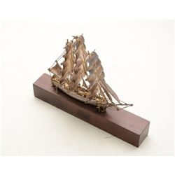 "Beautiful small silver model of a square  rigger sailing ship, approx. 5"" high and 6""  long on wood"