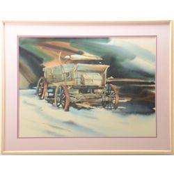 "Framed and matted watercolor of an old  buckboard wagon by Nicholson approx. 28"" x  36"" overall and"