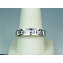 Exquisite 14 karat white gold ladies  anniversary design ring invisible set with  princess cut and l