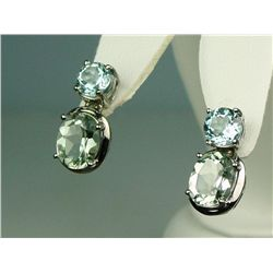 Superb 14 karat white gold ladies drop design  earrings set with a combination of green  Amethyst an