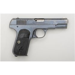 "Colt Model 1903 semi-auto pistol, .32 cal.,  3-3/4"" barrel, blue finish, checkered hard  rubber grip"