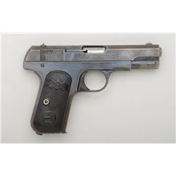 "Colt Model 1903 semi-auto pistol, .32 cal.,  3-3/4"" barrel, blue finish, checkered early  Colt hard"